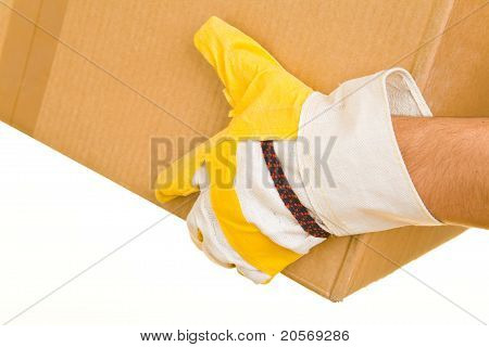 Hand With Glove Holding Box