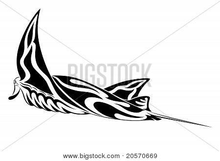 Stock Vector Manta Ray, Tribal Tattoo