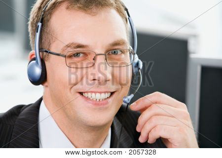 Smiling Telephone Operator