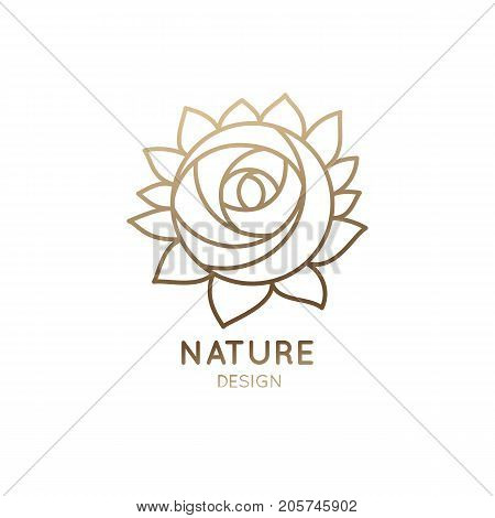 Vector Logo Of Floral Element Abstract Rose Flower Outline Icon