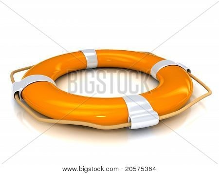 Orange lifebuoy over white background