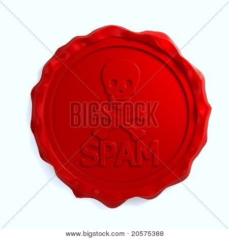 Red wax seal over white background