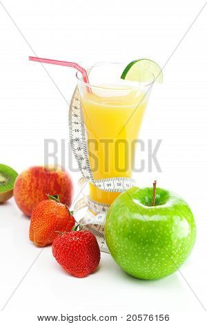 Juice,apple,strawberry,peach, Kiwi And  And Measure Tape Isolated On White