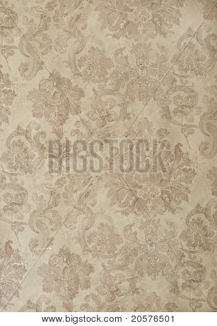retro brown and tan floral wallpaper texture for background