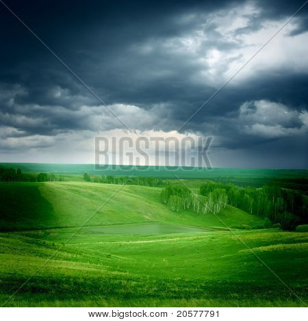 GREEN GRASSLAND AND STORM CLOUDS
