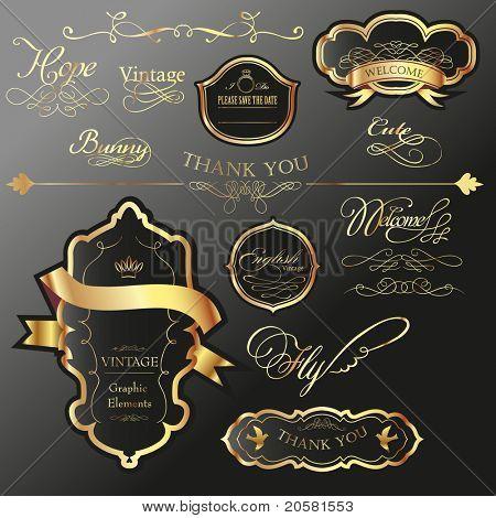 etiqueta de la etiqueta oro fresco con caligrafía de redacción