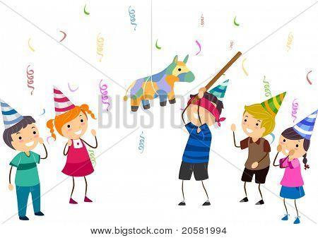 Illustration of Kids Playing Pinata
