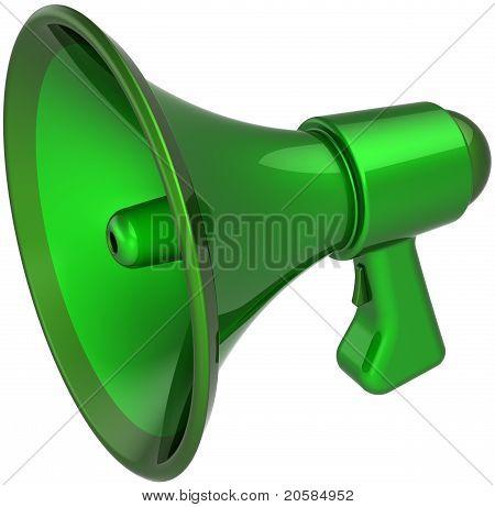 Green megaphone communication announcement