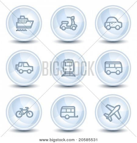 Transport web icons, light blue glossy circle buttons