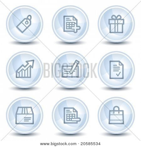 Shopping web icons set 1, light blue glossy circle buttons