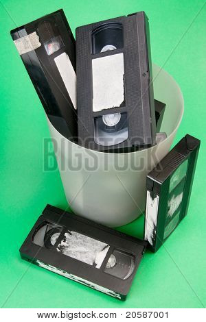 Video Tapes In Trash Can