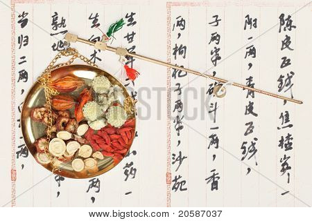 Ingredients for a Chinese medicine formula - Chinese characters are names for the herbs in the formula