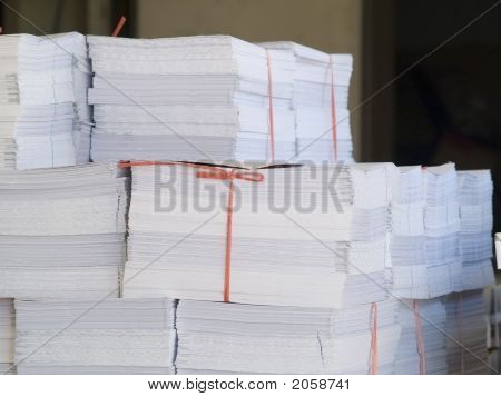 Piles Of Printed Paper