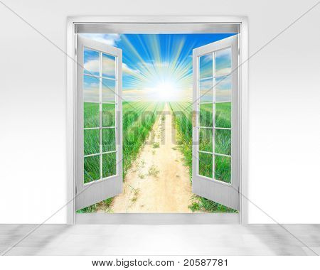 Opened door to early morning in green meadows - conceptual image - environmental business metaphor.