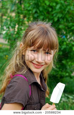 Young Girl Eating Icecream