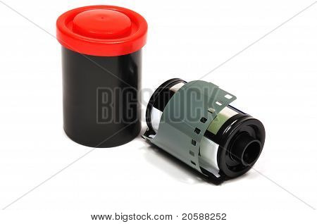 Photo Film In Cartridge, Isolated On A White Background