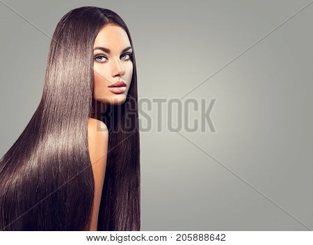 poster of Beautiful long Hair. Beauty woman with luxurious straight black hair on dark background. Beautiful b