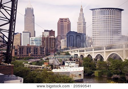 Big Ship On Cuyahoga River