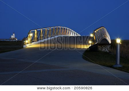 Pedestrian Bridge By The Lakefront In Milwaukee