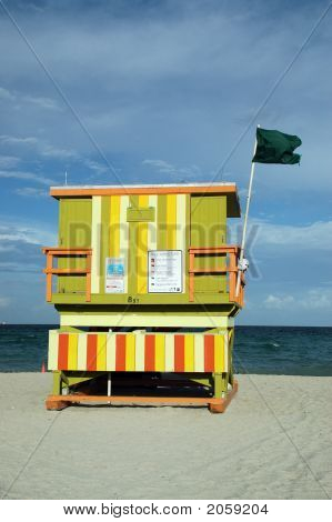 Green Art Deco Lifeguard Tower In South Beach