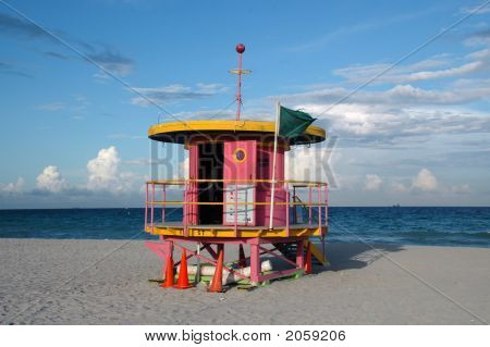 Pink Art Deco Lifeguard Tower In South Beach