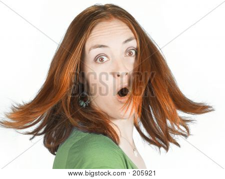 Suprised Woman With Coloured Hair In Movement