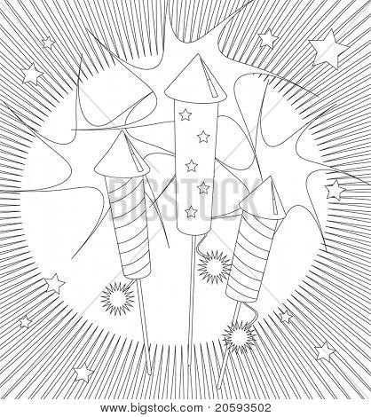 Fireworks colouring page. Activity sheet for children suitable for printable colouring pages or for party invitations or craft cards. Also available in vector format.