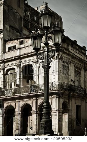 Street lamp in front of a building, Havana, Cuba