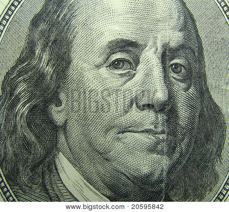 Benjamin Franklin portrait. 100 dollar bill.