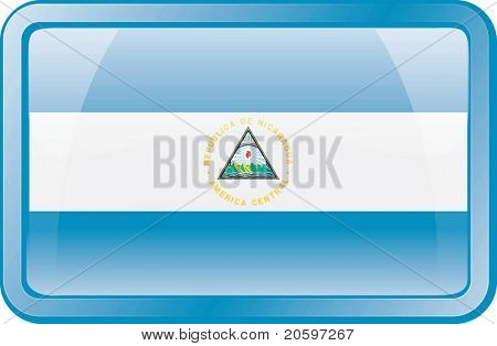 Nicaragua Flag Button. Flag icon.