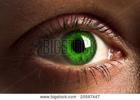 Deep green human eye.