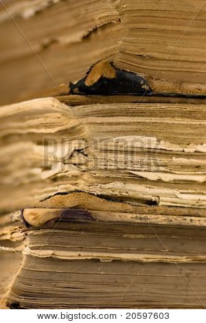 Pages of an old books. Close-up.