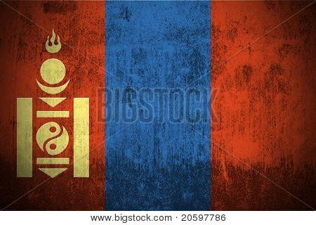 Resistido la bandera de Mongolia, texturada de la tela