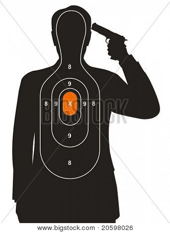 Target with man holding a gun