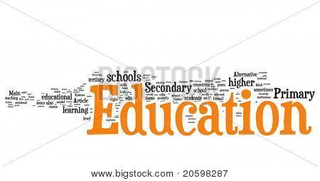 Bildung-Wort-Wolke-Abbildung. Grafik-Tag-Auflistung.