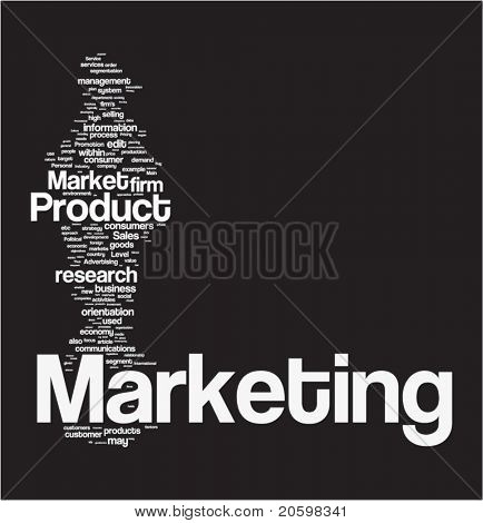 Marketing word cloud illustration. Graphic tag collection.