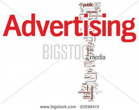 Advertising word cloud illustration. Graphic tag collection.