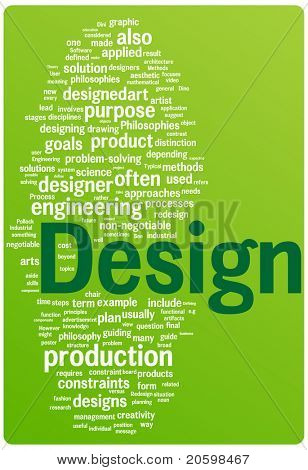 Design word cloud illustration. Graphic tag collection.