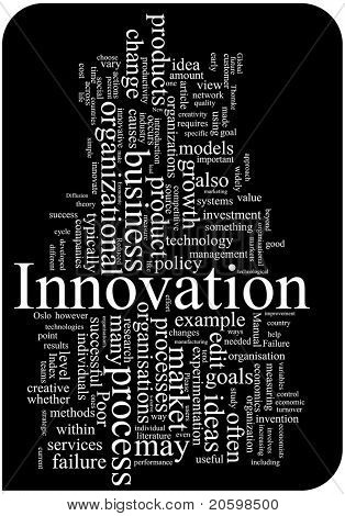 Innovation word cloud illustration. Graphic tag collection.