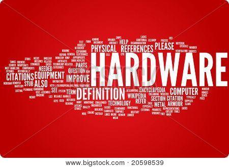 Ilustración de nube de palabra de hardware. Colección gráfica de la etiqueta