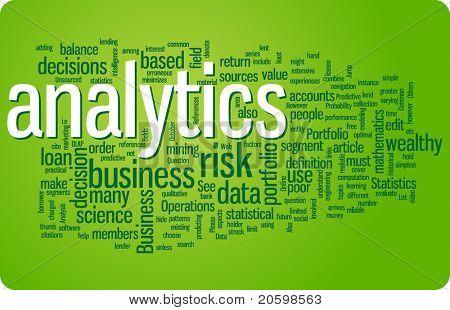 Ilustración de nube de palabra de Analytics. Colección gráfica de la etiqueta