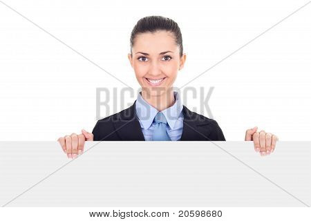 Smiling Businesswoman Holding Blank Sing