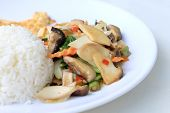 Stir Fried Tofu In Chinese Style,stir Fried Tofu With Mixed Vegetables And Fried Egg In White Plate poster
