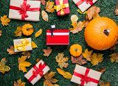 Various Autumn Leaves And Orange Pumpkins Near Mailbox poster