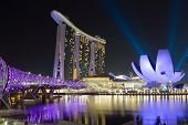 stock photo of singapore night  - Singapore helix bridge leading to Marina Bay Sands and ArtScience Museum - JPG
