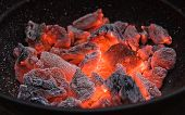 stock photo of gril  - Red hot burning charcoal preparing for grilling - JPG