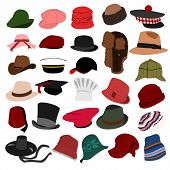 picture of bobble head  - Set of illustration of lots of different hats - JPG