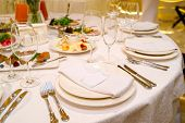 Dinner Place Setting With Blank Guest Card On White Table Napkin At Wedding Reception, Copy Space Fo poster