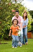 Happy Family Having Fun Outdoors poster