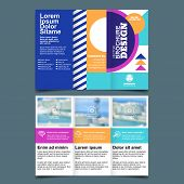 Brochure A4 Trifold, Vector. Business Leaflet And Design Elements. Flyer, Poster, Cover Layout With poster